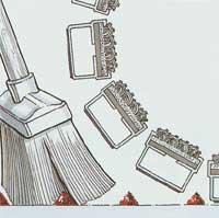 Čistenie rohoží, metla